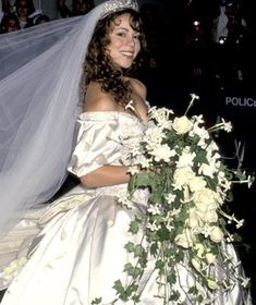 Maria Carey wore Vera Wang when she married Tommy Mottola ~ June 5, 1993