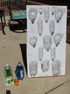 Waterwall: Use old plastic bottles of various sizes the bottles are screwed up so they can turn to make variable paths.  Explore the mixing of colors by using various colors of water.