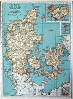 1937 Vintage Map of Denmark and Iceland by bananastrudel on Etsy