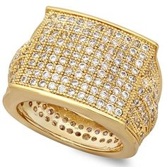 Hip Hop 14k Gold Plated Micropave CZ 16.5mm Domed Block Top Bling Ring + Microfiber Jewelry Polishing Cloth - http://www.jewelryfashionlife.com/hip-hop-14k-gold-plated-micropave-cz-16-5mm-domed-block-top-bling-ring-microfiber-jewelry-polishing-cloth/