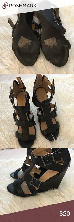 Express wedges Express black wedges! Zip up in back. Express Shoes Wedges