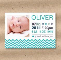 Birth Announcement  Custom Photo Card  for Baby Boy or by luvalexa, $15.00