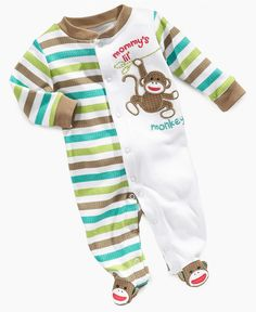 Macy's Sock Monkey Boys Footed Coverall