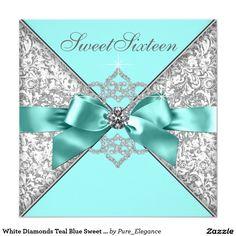 White Diamonds Teal Blue Sweet 16 Birthday Party Card
