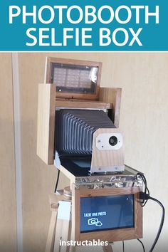Atel yeah created a photobooth selfie box powered by Raspberry Pi and modeled after a old bellows camera. #Instructables #electronics #technology #RaspberryPi #photography Photography Projects, Selfie, Photo Booth, Raspberry, Home Appliances, Technology, Electronics, Box, House Appliances