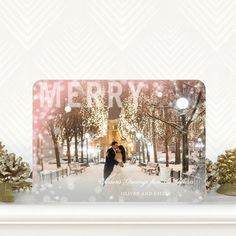 'Merry Beauty' #Christmas Cards in Rose Pink is quite the dreamy holiday card!