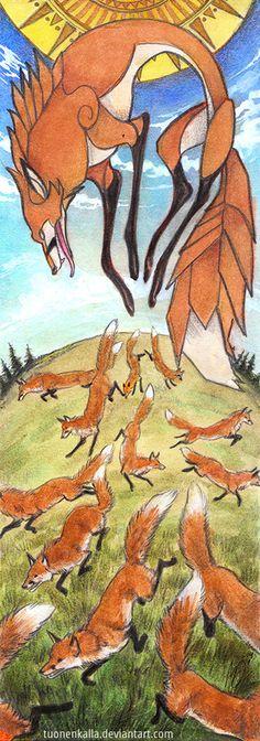 Kareitar by Tuonenkalla  Käreitär, kettujen emuu. Käreitär, mother of foxes.   Finnish folklore.