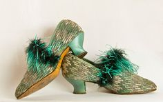 Amazing. Truly.    Art Deco Shoes  Ostrich Feather Trim  High Vamp  by Butterflysue, $135.00