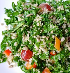 Foods For Long Life: Shredded Kale And Quinoa Salad With Red Grapes, Bell Pepper, And Sunflower Seeds Vegan and Gluten Free