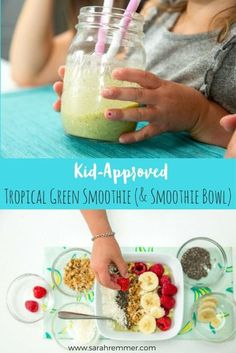 moothies are a great meal choice for kids, because they're so easy to make (kids can help or depending on age, even do it themselves!), but also because you can jam-pack them full of nutrient-dense ingredients like fresh or frozen fruits and veggies, nuts Smoothies For Kids, Apple Smoothies, Green Smoothie Recipes, Smoothie Bowl, Healthy Smoothies, Green Smoothies, Healthy Drinks, Easy Meals For Kids, Healthy Snacks For Kids