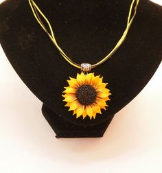 sunflower pendant necklace polymer clay jewelry gift for her Floral jewelry…