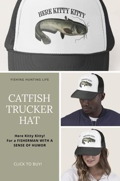 Funny fishing hat; Here Kitty Kitty! #fisherman Fishing Books, Fishing Humor, Fishing Tips, Fishing And Hunting, Beer Quotes, Funny Quotes, Catfish Fishing, Hunting Humor, Here Kitty Kitty