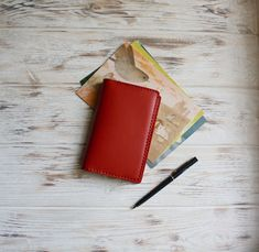 Red leather field notes cover to protect your favourite journal! Leather Notebook, Leather Journal, Leather Book Covers, Small Journal, Stationary Supplies, Pen Case, Journal Covers, Red Leather, Notebook Ideas