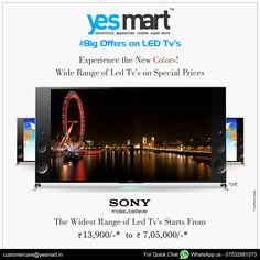 Get a 'Premium viewing Experience' with Latest #TopBrand #Hd Television's from #YesMart in Unbelievable offers. More range of Brand Led Tv's in different price ranges with Exclusive Offers available at all #YesMart Stores. rush to your nearset #YesMart Store to Grab them. For more info Visit – www.yesmart.in