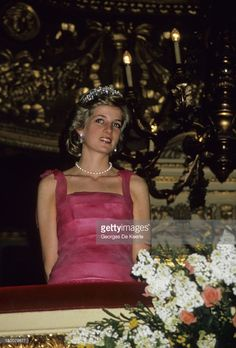 Princess Diana during a night out at the opera at La Scala, Milan, Italy on April, 1985.