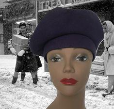 Vintage Wool Tam Wool Beret 1940s New York Creations Navy Blue Purple  Adjustable 40s Hat Halloween Winter Hat Wool Hat Side Beret 101c9e5cf1f