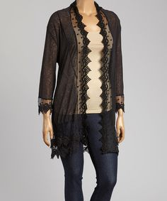 Look at this #zulilyfind! Black Swiss Dot Open Cardigan - Plus by Lady Noiz #zulilyfinds