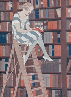 'The Blue Stocking' by Reginald Higgins, 1923 - illustration of a girl reading on a ladder in a library Reading Art, Woman Reading, Fine Art Prints, Canvas Prints, Framed Prints, People Reading, Illustration Art Nouveau, Blue Stockings, Library Ladder
