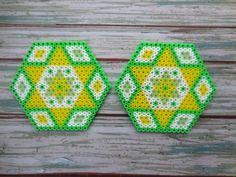 2 boisson unique Coasters Hama Perles russes vert fixé par TCAshop