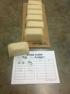 Use cure cards for determining the cure date/weight of soap. Great idea!
