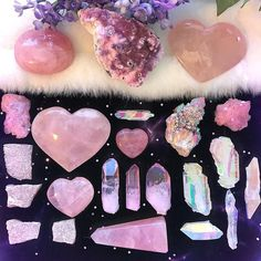 Rose quartz: Stone for the heart Crystal Magic, Crystal Grid, Amethyst Crystal, Minerals And Gemstones, Rocks And Minerals, Crystal Aesthetic, Witch Aesthetic, Crystal Meanings, Crystal Collection