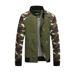 Outdoor Fashion Stand Collar Slim Fit Camouflage Mosaic Bomber Jacket (58 BAM) ❤ liked on Polyvore featuring men's fashion, men's clothing, men's outerwear, men's jackets, army green, men coats & jackets, mens polyester jackets, mens zip jacket, mens olive green bomber jacket and mens bomber jacket