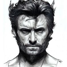 "Hugh Jackman as ""Wolverine"" Hand drawn pencil / ink sketch (detail ..."