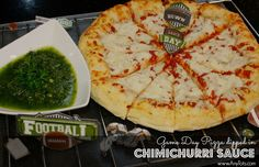 Easy to make Chimichurri Sauce Recipe as dip for Freschetta® Naturally Rising 4 Cheese Medley pizza. www.anytots.com #GameDayPizza #ad