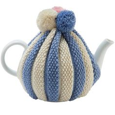 pom pom knitted tea cosy by ulster weavers   notonthehighstreet.com Reminds me of the one we had when we were younger :-)