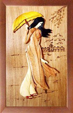 Wood intarsia painting                                                       …