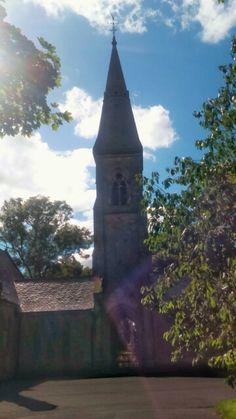 Tower on church inside the Commonwealth Memorial in Hebburn.
