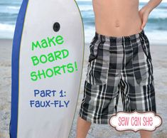 Faisons des boardshorts! {Partie 1} - SewCanShe | Patrons de couture et tutoriels gratuits Easy Sewing Patterns, Easy Sewing Projects, Sewing Tutorials, Clothing Patterns, Sewing Ideas, Diy Clothing, Quilt Patterns, Sewing Kids Clothes, Sewing For Kids