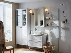 Get inspired with our bathroom design ideas. Our bathroom design gallery highlights multiple bathrooms in a variety of styles featuring IKEA products. Bathroom Furniture, Furniture Sets, Bathroom Interior, Bathroom Design Small, Bathroom Ideas, Bathroom Organization, Bathroom Wall, Cozy Bathroom, Scandinavian Bathroom