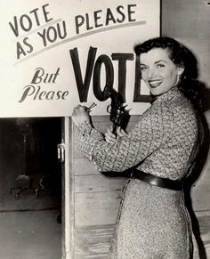 "Jane Russell - Vote! ""These days I am a teetotal, mean-spirited, right-wing, narrow-minded, conservative Christian bigot, but not a racist."" (Jane, 2003)"