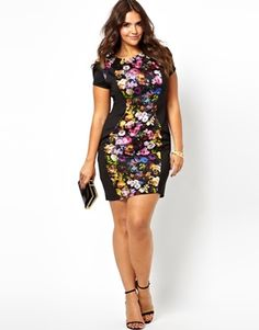 Bright floral colorblocked dress - gorgeous. Little Mistress Body-Conscious Midi Dress With Floral Panel