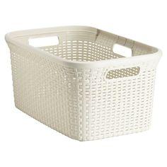 Rectangular Plastic Rattan Basket Ivory