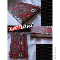 Caderno Mardô com costura copta etíope - tecido colorido e elegante, folhas recicladas, ótimo presente!   www.munayartes.com
