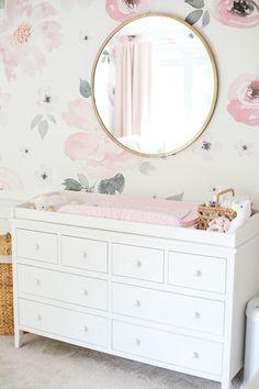 Baby Emma's Nursery Reveal - Eat Yourself Skinny Baby Emma's pink floral nursery Baby Bedroom, Nursery Room, Girls Bedroom, Baby Rooms, Bedroom Wall, Baby Girl Nursery Themes, Baby Room Decor, Nursery Ideas Girls, Nurseries Baby
