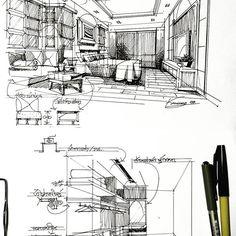 in sketch in 2019 스케치 Interior Design Presentation, Interior Design Sketches, Sketch Design, Layout Design, Drawing Interior, Interior Rendering, Hand Sketch, Sketch Ink, Perspective Sketch