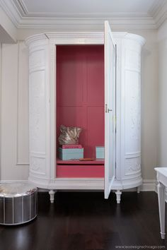 Spotlight on Leo Designs furniture redo - armoire, stand-alone wardrobe - repaint outside white or black or off-white - paint inside with a bright, vibrant color Redo Furniture, Furniture Diy, Armoire, Painted Furniture, Living Design, Refurbished Furniture, Painted Wardrobe, Diy Furniture, Furniture