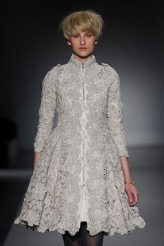 Flared 3/4 coat of textural gray lace. Christophe Josse Fall/WInter 2011 Photo Source: ImaxTree