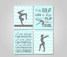 GYMNASTICS BEDROOM WALL ART - Gymnastics Wall Art Instant Download Printable by KookyburraPrints - DIY GYMNASTICS BEDROOM DECOR FOR GIRLS AND TEENS