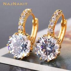gold filled with swarovski crystal Gem Type swarovski crystal Earring Main  Gem Gem Cut round Brilliant Color white Metal Type  yellow gold filled Gram  grams ... 8ab5c625885