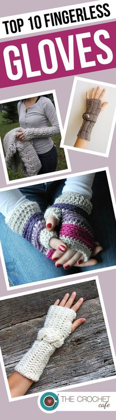 Roundup of 10 crochet patterns for fingerless gloves and mittens on the Crochet Cafe