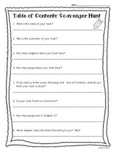 Table of Contents and Index Book Scavenger Hunt Worksheet Activity Book Scavenger Hunt, Text Features Worksheet, Table Of Contents, Library Lessons, Stack Of Books, Third Grade, Nonfiction, Lesson Plans, A Table
