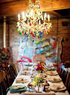 beautiful colorful chandelier, I love this look