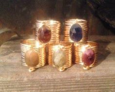 Natural Untreated Sapphire Wire Wrap Rings