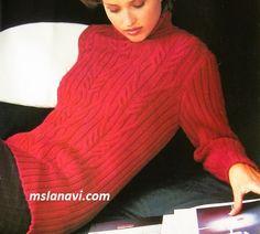 Красный свитер витыми аранами - ОПИСАНИЕ http://mslanavi.com/2017/09/krasnyj-sviter-vitymi-aranami/