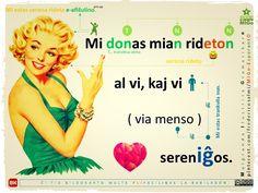 afiŝulino (pin up) #migo #esperanto #akuzativo #gramatiko #verbo #doni #iĝ #menso #ridi mi kaj vi #virino Pin Up, Language, Board, Movie Posters, Movies, Film Poster, Films, Pinup, Speech And Language