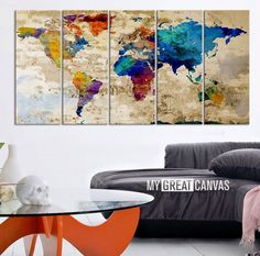 16004 large wall art world map canvas print custom world map retro world map canvas print art drawing on old wall watercolor worl extra large gumiabroncs Image collections